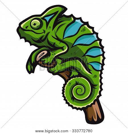 Green Smiling Chameleon Is Sitting On Branch. Creative Chameleon Logo Icon Design.