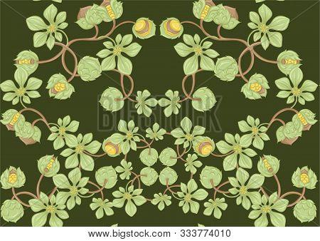 Hazelnut. Decorative Motif. Seamless Pattern, Background. Colored Vector Illustration. In Art Nouvea