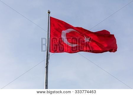 National Flag Of Turkey In The Windy Sky, Istanbul