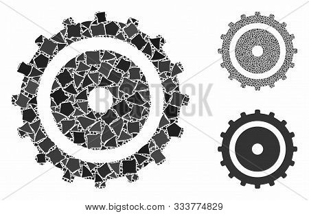 Cog Wheel Composition Of Rugged Pieces In Various Sizes And Color Tinges, Based On Cog Wheel Icon. V
