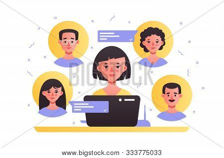 Pretty Female Sitting Near High-tech Laptop Vector Illustration. Brunette Remotely Having Lovely Cha