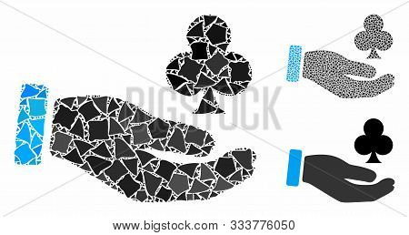 Croupier Hand Composition Of Rough Elements In Various Sizes And Color Hues, Based On Croupier Hand