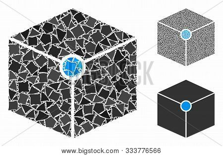 Cube Vertex Mosaic Of Inequal Parts In Variable Sizes And Shades, Based On Cube Vertex Icon. Vector