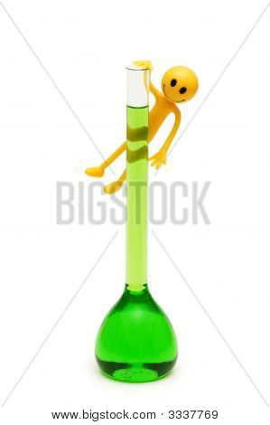 Smilies Holding Green Tube Isolated On White