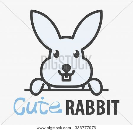 Vector Logo Of сute Funny Smiling Cartoon Rabbit. Modern Humorous Logo Template With Image Of The Bu