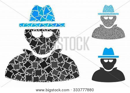 Detective Mosaic Of Unequal Pieces In Various Sizes And Color Tones, Based On Detective Icon. Vector