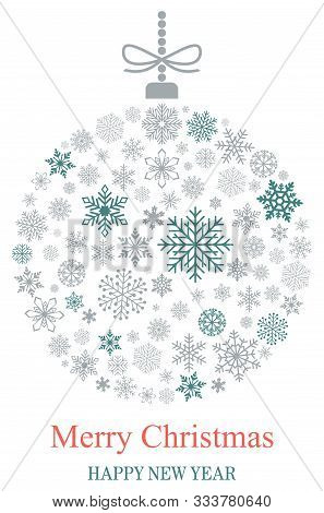 Christmas Bauble Vector With Snowflakes, Silver Hanger And Christmas Greetings On White Background.