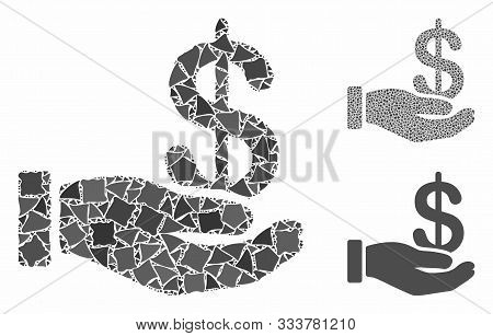 Earnings Mosaic Of Humpy Items In Different Sizes And Shades, Based On Earnings Icon. Vector Unequal