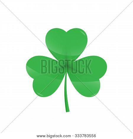 Green Shamrock Leave Icon - Saint Patricks Day Symbol, Realistic Shamrock Leafsolated On White Backg