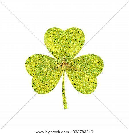 Green Shamrock Leave Icon - Saint Patricks Day Symbol, Golden Shamrock Leafsolated On White Backgrou