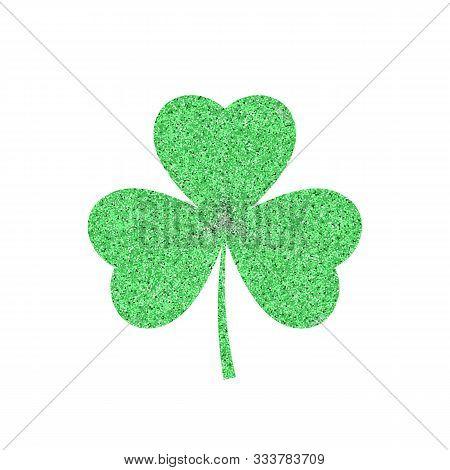 Green Shamrock Leave Icon - Saint Patricks Day Symbol, Glittering Shamrock Leafsolated On White Back