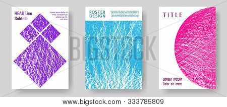 Waves Texture Cover Page Templates. Flat Geometric Cover Leaflets. Teal Pink Purple Waves Texture Ba