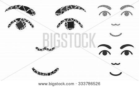 Face Composition Of Bumpy Elements In Various Sizes And Color Tints, Based On Face Icon. Vector Bump
