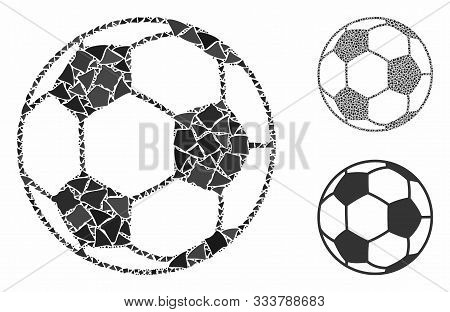 Football Ball Mosaic Of Uneven Items In Various Sizes And Color Tints, Based On Football Ball Icon.
