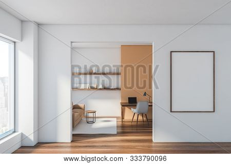 White Living Room And Home Office With Poster