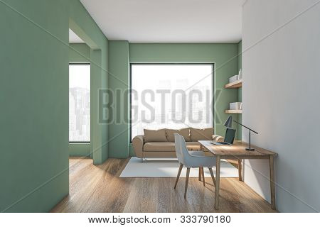 Green And White Living Room Interior