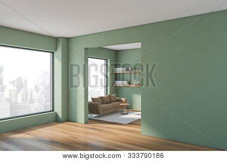 Green Living Room Corner With Sofa