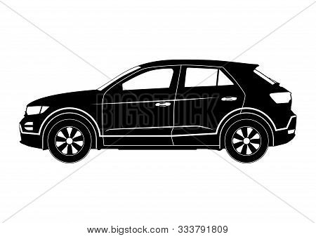 Crossover Silhouette. Modern Compact Suv Car. Side View. Flat Vector.