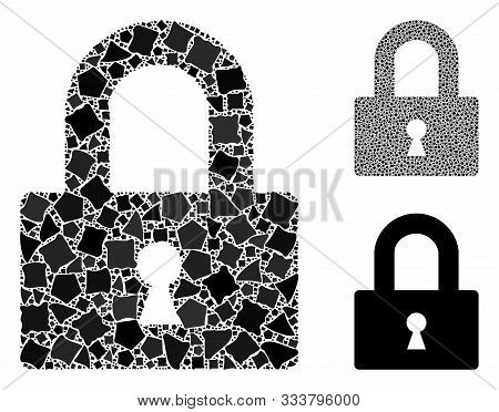 Lock Mosaic Of Abrupt Items In Different Sizes And Shades, Based On Lock Icon. Vector Abrupt Items A