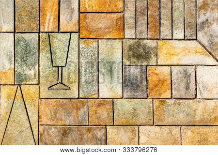 Background. Wall With Different Rectangles. Ornament Background. Geometric Background. Ancient Geome
