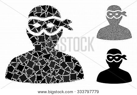 Masked Thief Mosaic Of Uneven Items In Various Sizes And Shades, Based On Masked Thief Icon. Vector