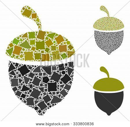 Oak Acorn Mosaic Of Tuberous Parts In Different Sizes And Color Tinges, Based On Oak Acorn Icon. Vec