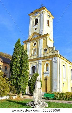 Typical Urban Landscape In The Little Town Oravita, In Banat, Transylvania In A Sunny Day, In Autumn