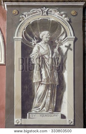 IVANIC GRAD, CROATIA - SEPTEMBER 25, 2011: Saint Aloysius, fresco in the church of the Saint Peter in Ivanic Grad, Croatia