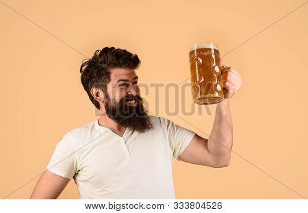 Celebration Oktoberfest Festival. Beard Man Drinking Beer From Mug. Lager And Dark Ale. Beer Time. Y