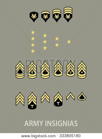 Army Military Insignia Rank Set, Green Background