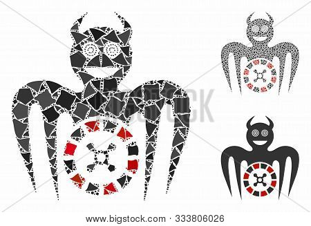 Roulette Mad Spectre Devil Mosaic Of Irregular Items In Various Sizes And Color Tinges, Based On Rou
