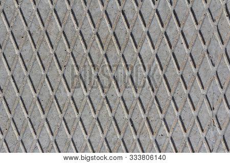 Concrete Slab Texture. Concrete Slab Rhombic Pattern On A Concrete Slab Closeup.