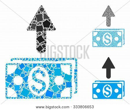 Send Banknotes Mosaic Of Joggly Parts In Various Sizes And Color Hues, Based On Send Banknotes Icon.