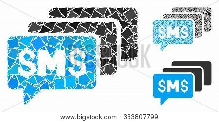 Sms Messages Mosaic Of Bumpy Parts In Various Sizes And Shades, Based On Sms Messages Icon. Vector H