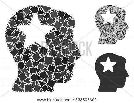 Star Head Composition Of Uneven Parts In Various Sizes And Color Tones, Based On Star Head Icon. Vec
