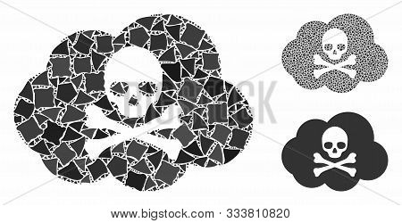 Toxic Smoke Mosaic Of Bumpy Pieces In Various Sizes And Shades, Based On Toxic Smoke Icon. Vector Bu