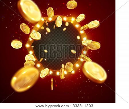 Vector Illustration Of An Explosion Of Gold Coins In A Retro Frame. Vintage Frame With Incandescent