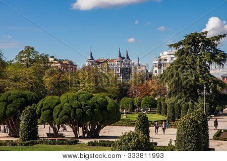 Madrid, Spain - October 21, 2019: The Buen Retiro Park In Madrid. Retiro Park Is One Of The Largest
