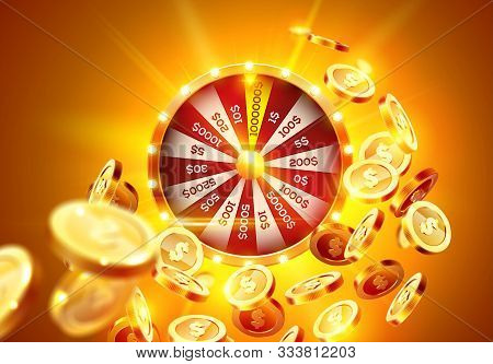 Vector Illustration Spinning Fortune Wheel On Explosion Of Gold Coins Background And With Light Spot