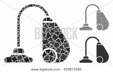 Vacuum Cleaner Mosaic Of Uneven Pieces In Various Sizes And Color Tinges, Based On Vacuum Cleaner Ic