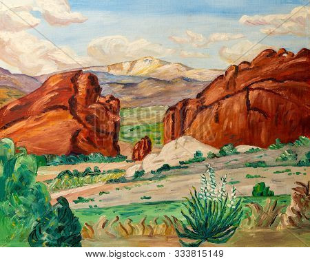 Naive Style Oil Painting Of The Grand Canyon Mountains And Arid Landscape Of Arizona Or Nevada, In S