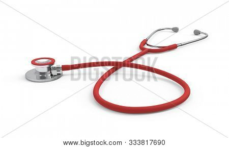 Medical Stethoscope Isolated on White Background. Medicine Industry Concept. 3D Illustration.