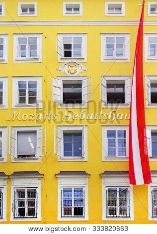 SALZBURG, AUSTRIA, 22 AUGUST 2019: Birthplace and birth house of Wolfgang Amadeus Mozart, one of the most brilliant composers