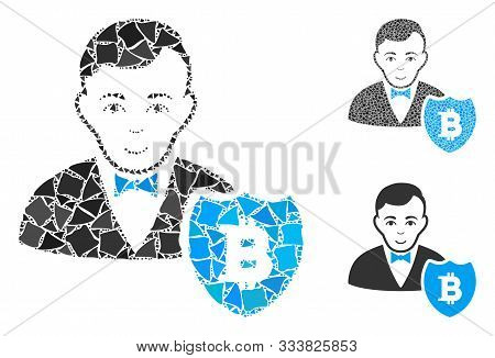 Bitcoin Protector Mosaic Of Inequal Parts In Various Sizes And Color Tones, Based On Bitcoin Protect