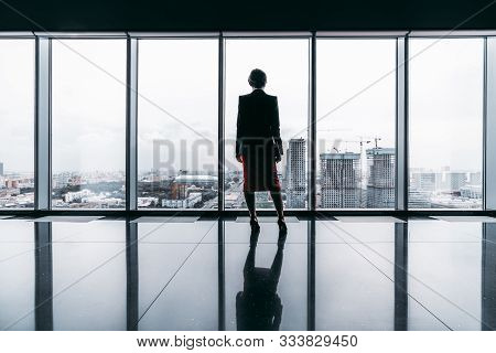 Rearview Of A Female Entrepreneur On The Top Of A Modern Business Office Skyscraper Standing Near Bi