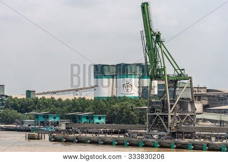 Long Tau River, Vietnam - March 12, 2019: Phuoc Khanh Area. Closeup Of Cong Thanh Group Cement Facto