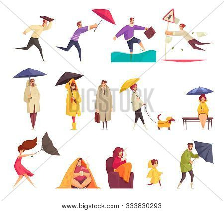 Bad Windy Rainy Weather Funny Cartoon Icons Set With People Holding Flipping Inside Out Umbrellas Ve