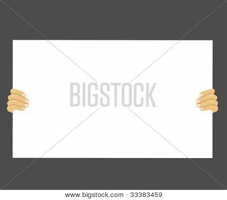 Hand holding  white paper isolated