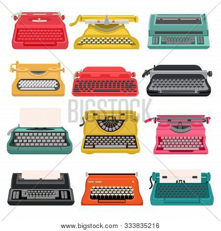 Typewriter Vector Old Vintage Keyboard Machine, Retro Type-writer For Writing And Typing. Illustrati