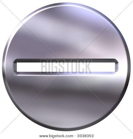3D Silver Framed Subtraction Symbol